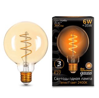 Лампа Gauss LED  Filament G95 Flexible Golden